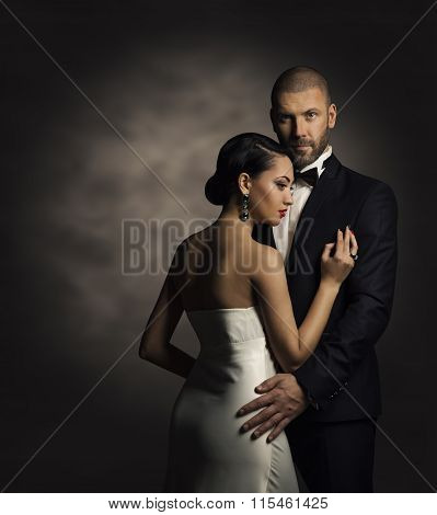 Couple In Black Suit White Dress, Rich Man Fashion Woman