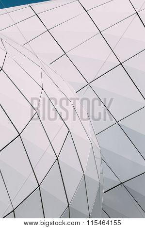 Detail of wall of modern design building Monte-Carlo Pavillions.