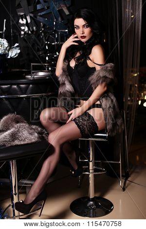 Beautiful Sensual Woman With Dark Hair Wears Black Lingerie