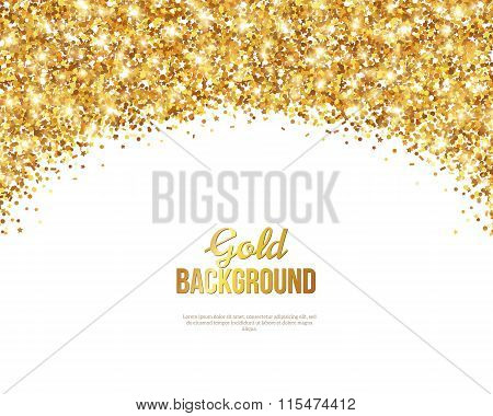 Greeting Card with Gold Confetti Glitter Arch