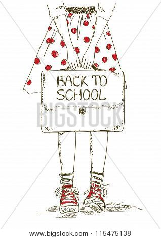 Back To School Illustration With Girl.