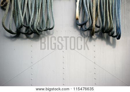 Ropes on the ship's hull