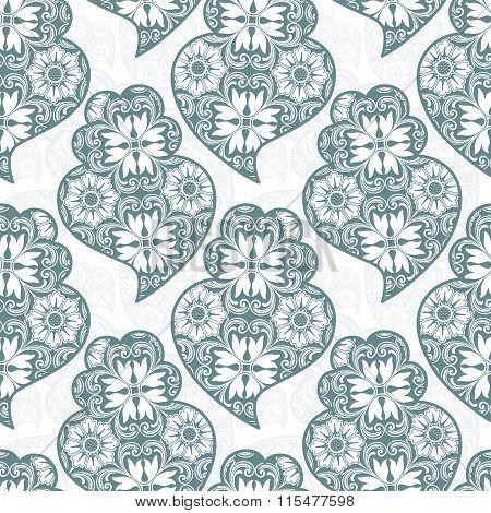 Traditionall Portuguese Viana's Heart And Azulejo Tiles Background. Vector Illustration. Seamless Po