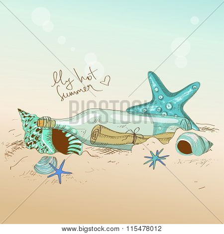 Illustration Of Seashells, Starfish And Bottle With A Message