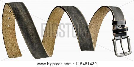 Black leather men's belt in form of spiral
