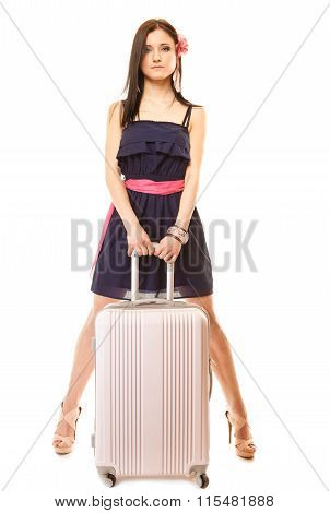 Travel vacation concept. Young summer fashion woman in voyage girl in full length with pink suitcase luggage bag. poster