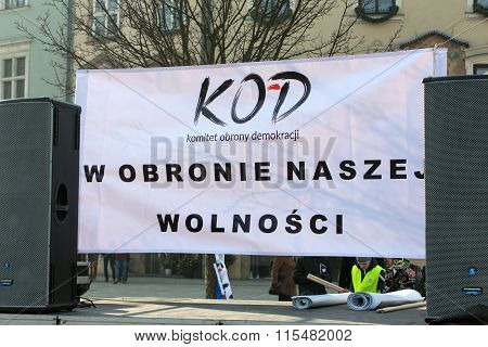 CRACOW POLAND - JANUARY 23 2016: the Demonstration against the surveillance on Internet