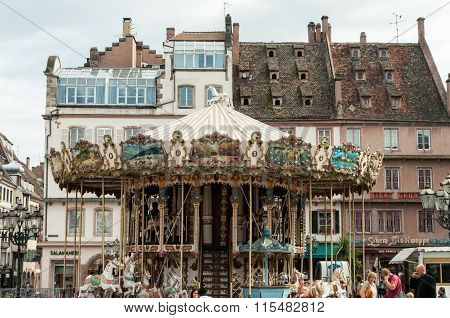 Old Vintage Carousel Merry-go-round In The Place Kleber, Strasbourg