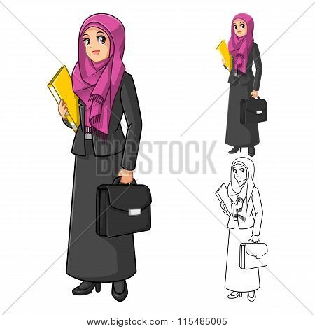 Muslim Businesswoman Wearing Fuchsia Veil or Scarf with Holding Briefcase