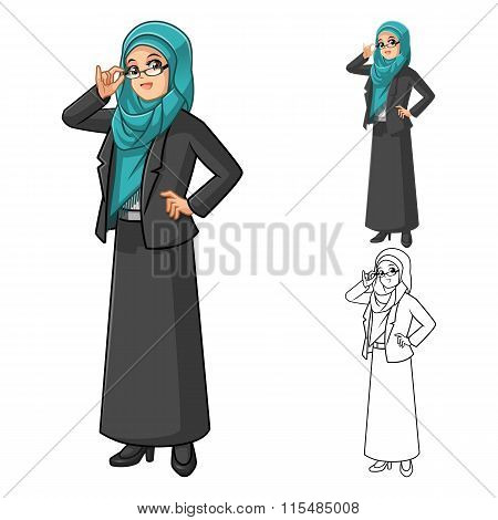 Muslim Businesswoman Wearing Green Tosca Veil or Scarf Cartoon with Glasses