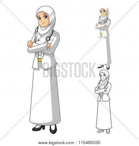 Muslim Woman Doctor Wearing White Veil or Scarf with Folded Hands