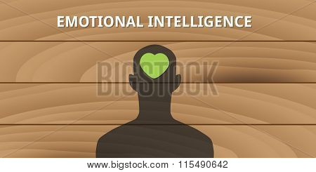 emotional intelligence human head with love symbol