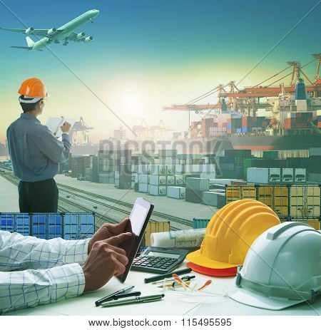 hand of business man working on working table in container dock use for logistic industry and import export freight cargo shipping industrial poster