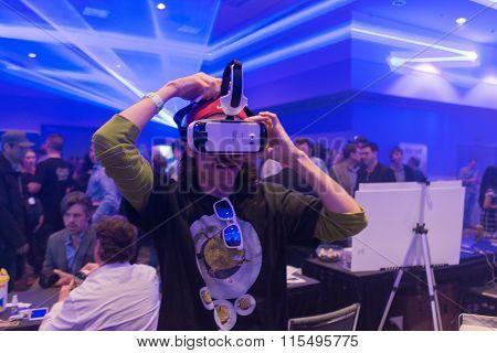Man Tries Virtual Reality Samsung Gear Vr Headset