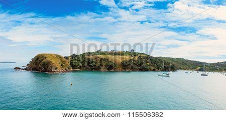 Yacht in bay New Zealand