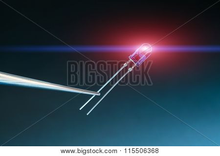 led diode on blue background