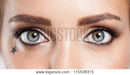 Close Up Of The Eye Of A Girl With An Evening Make-up Fashion