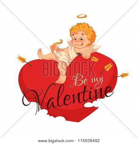 Happy valentine day. Heart with cherub. Vector illustration