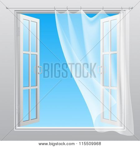 Double window opened outwardly with white fluttering curtain