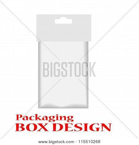 White Mock Up Blank Foil Food Or Drink Doypack Bag Packaging. poster