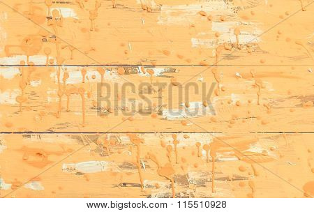 Old Wood Orange Background - Salmon Color Drops On Wooden Panel - Weathered Planks Background