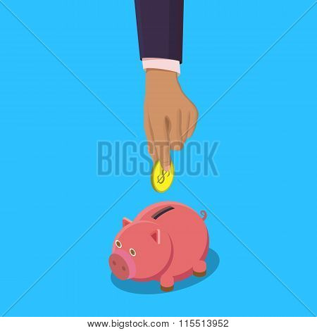 Piggy bank and hand with coin