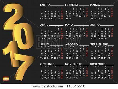 2017 Calendar In Black Spanish