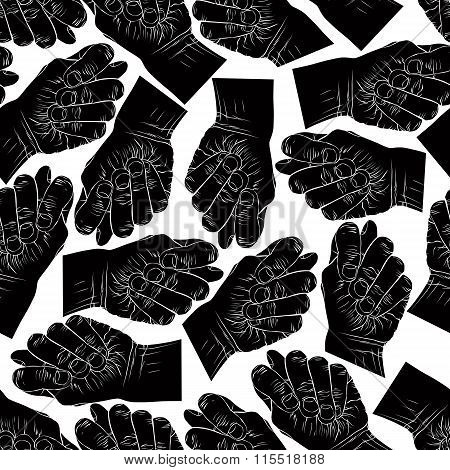 Fig Fico Hands Seamless Pattern, Black And White Vector Background For designs
