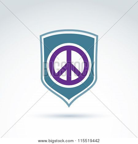 Round Antiwar Vector Icon On A Shield, Global Peace Protection Vector Icon. Peacemaker Badge.