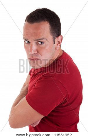 Man Standing, Looking With Contempt, Isolated On White Background. Studio Shot.