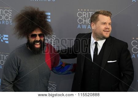 LOS ANGELES - JAN 17:  Reggie Watts, James Corden at the 21st Annual Critics Choice Awards at the Barker Hanger on January 17, 2016 in Santa Monica, CA