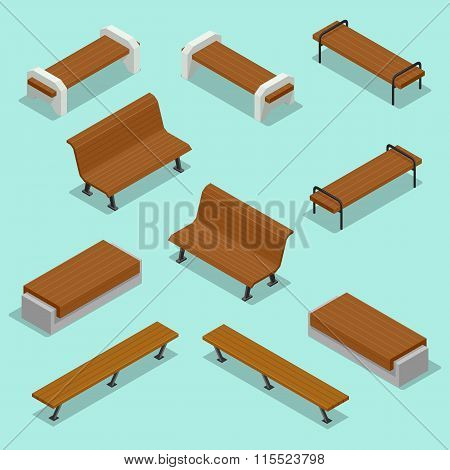 Bench. Outdoor park benches Icon Set. Wooden benches for rest in the park. Flat 3d isometric vector