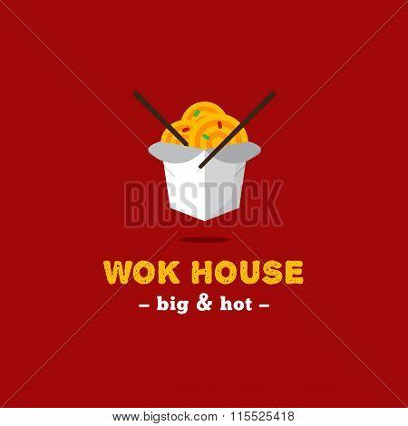 Vector Bright Wok Box Chineese Cafe Logo. Brand Sign