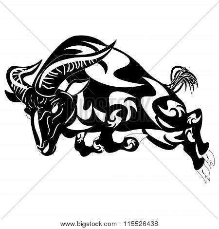 An Illustration Of A Stylised Black Ram