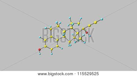 Ethinyl Estradiol Molecule isolated on grey