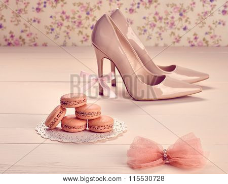 Woman essentials, fashion high heels. Macarons