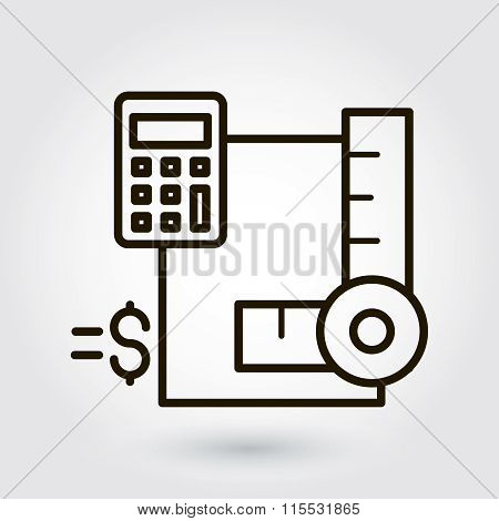 Black flat line vector icon with a picture of a symbol estimate