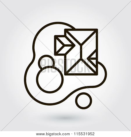 Black flat line vector icon with a picture of a symbol landscapi