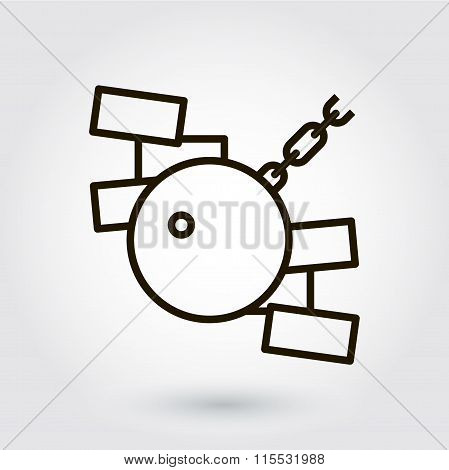 Black flat line vector icon with a picture of a symbol dismantli