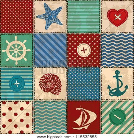 Nautical Patchwork Seamless Pattern.