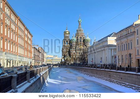 Saint Petersburg. View on Griboyedov Canal and the Russian Orthodox Church of the Resurrection