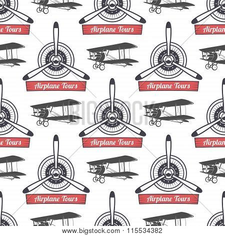 Vintage airplane tour pattern. Biplane propellers seamless background with ribbon, biplanes. Retro P