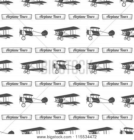 Vintage airplane tour pattern. Old Biplanes seamless background with ribbon. Retro Plane wallpaper a