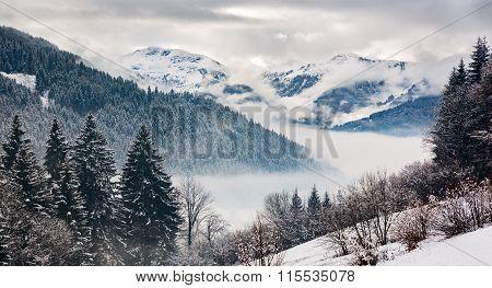 Zillertal At A Winter Day, Tyrol, Austrian Alps
