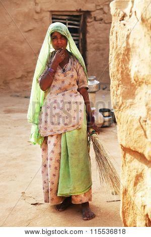 THAR DESERT, 27 March 2015, INDIA - Street scene in Thar Desert, India, Asia