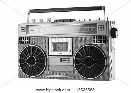 Silver Old-school  Ghetto Blaster Or Boombox Isolated On A White Background