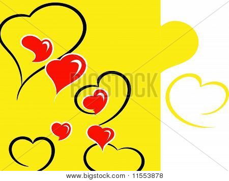 Hearts On A Yellow Background