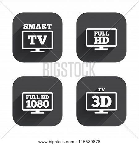 Smart TV mode icon. 3D Television symbol.