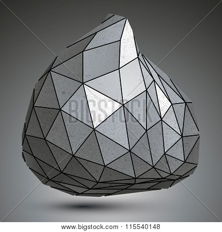 Deformed Zink Asymmetric 3D Abstract Object, Grayscale Graphic Grunge Element.