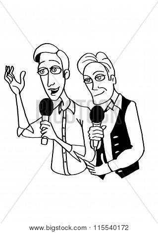 The two leading men with microphones